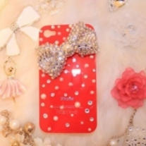 New Bling crystals and Big Silver Butterfly on Red iPhone 4/4S Case