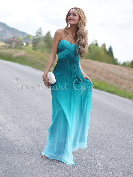 Charming strapless chiffon gradient color prom dress for Colored beach wedding dresses