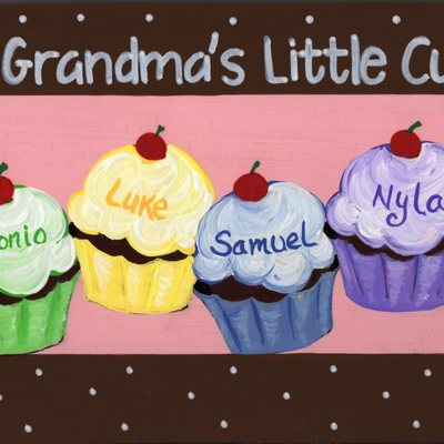 "6"" x 24"" cupcakes (personalized sign) wall decor"