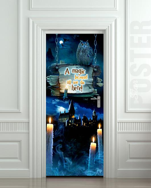 Door STICKER fantasy magic owl mural decole film self-adhesive poster 30x79&q...