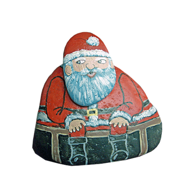 Santa painted rock with detachable head - free usa shipping