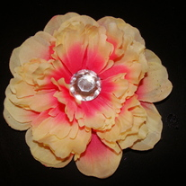 Large Peaches and Cream Yellow and Pinks Gem Center Flower Clip