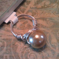 Gold Pearl Wire Wrapped Ring