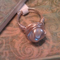 Dented Pearl Wire Wrapped Ring