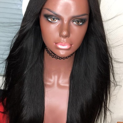 Straight human hair wig (handmade)