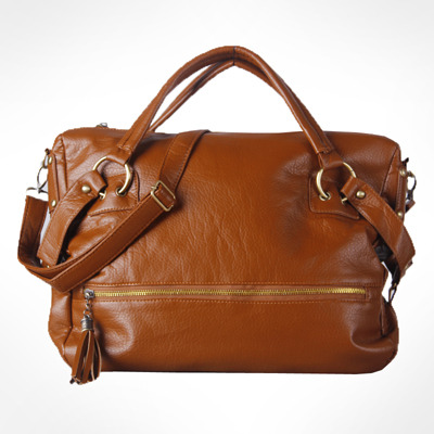 Women's Tasselled Soft PU Leather Handbag With Rivits and Ring-Brown