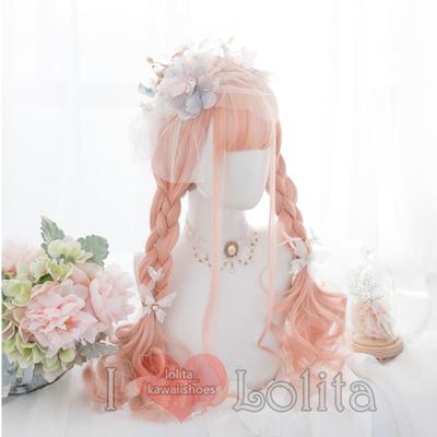 Japanese fashion harajuku kawaii orange pink color long curly wigs daily wigs lk19052816