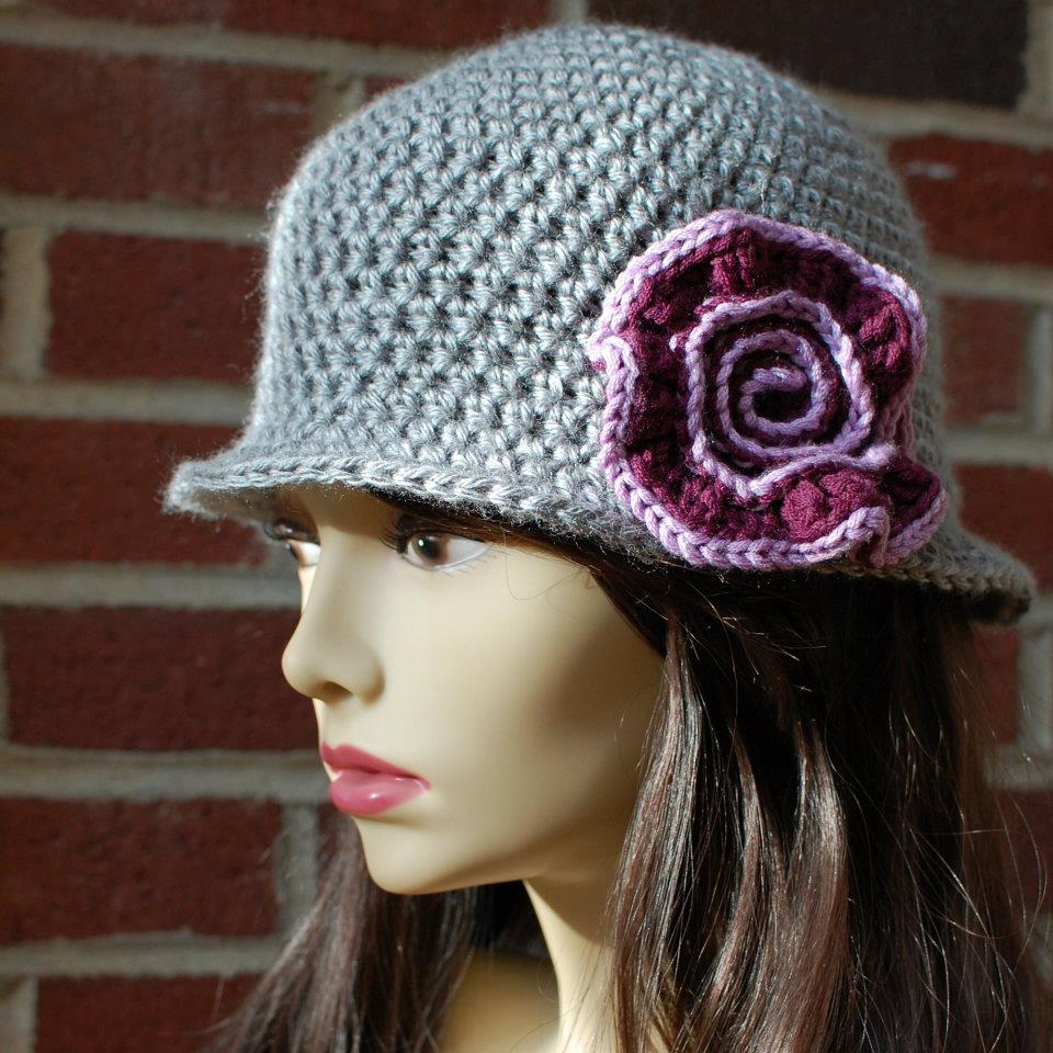 Crochet Hat Pattern Teenager : Crochet Pattern - Brimmed Hat with Swirl Flower (Teen ...