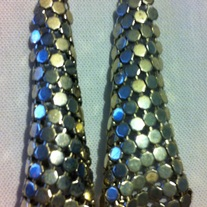 Silver Mesh Chain Mail 1980s Vintage Earrings