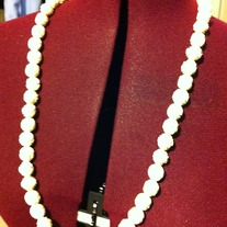 Vintage Bone or Ivory Carved Rose Beads Necklace