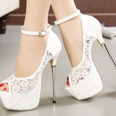 Lace ankle strap women fashion platform peep toe high heels shoes g-2980