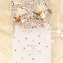 New Bling Bling Big Crystal Bow With Tiny Crystals Pink iPhone 4/4S Case (#438)