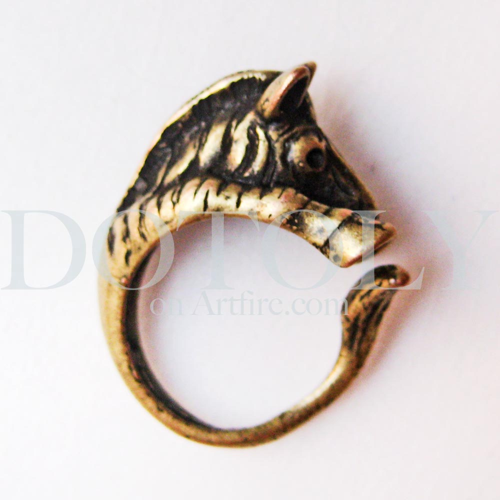 miniature zebra animal ring in bronze sizes 5 to 9