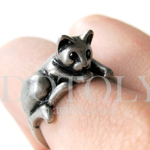 Miniature Kitty Cat Animal Pet Ring in Silver Sizes 5 to 9 available