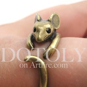 Miniature Mouse Animal Wrap Ring in Bronze - Sizes 4 to 9 Available
