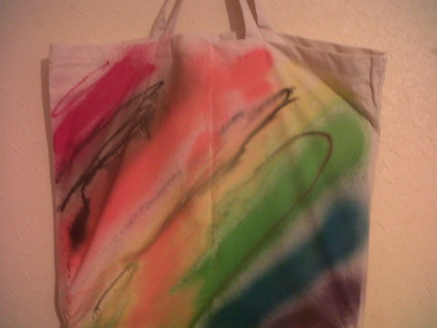 CBD Women's Rainbow Chalk Cotton Shopper Bag.