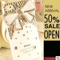 Bling Big White Bow With Tiny Crystals On White Case For iPhone 4