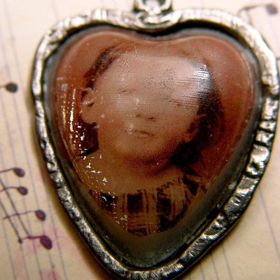 Heart girl tintype reproduction handcast pewter pendant