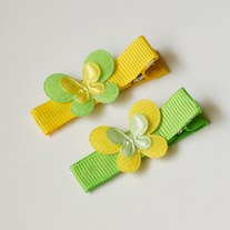 Mini butterfly clips, yellow/green