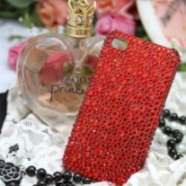Bling Crystal Sparkle All Red Rhinestones iPhone 4/4S Case (#683)