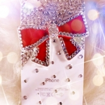 New Bling Big Red Bow With White Crystals on White Case For Apple iPhone 4 (#326)
