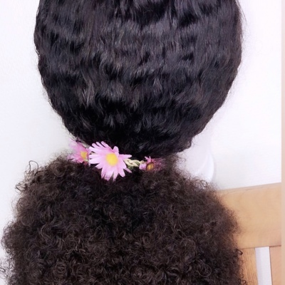 Baby curls human hair closure wig