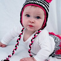 Zebra Earflap Girls Crochet Hat Photo Prop