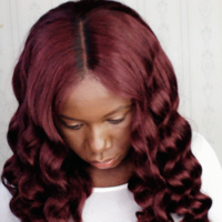 Burgundy Human Hair Frontal wig ( Handmade) - Thumbnail 2