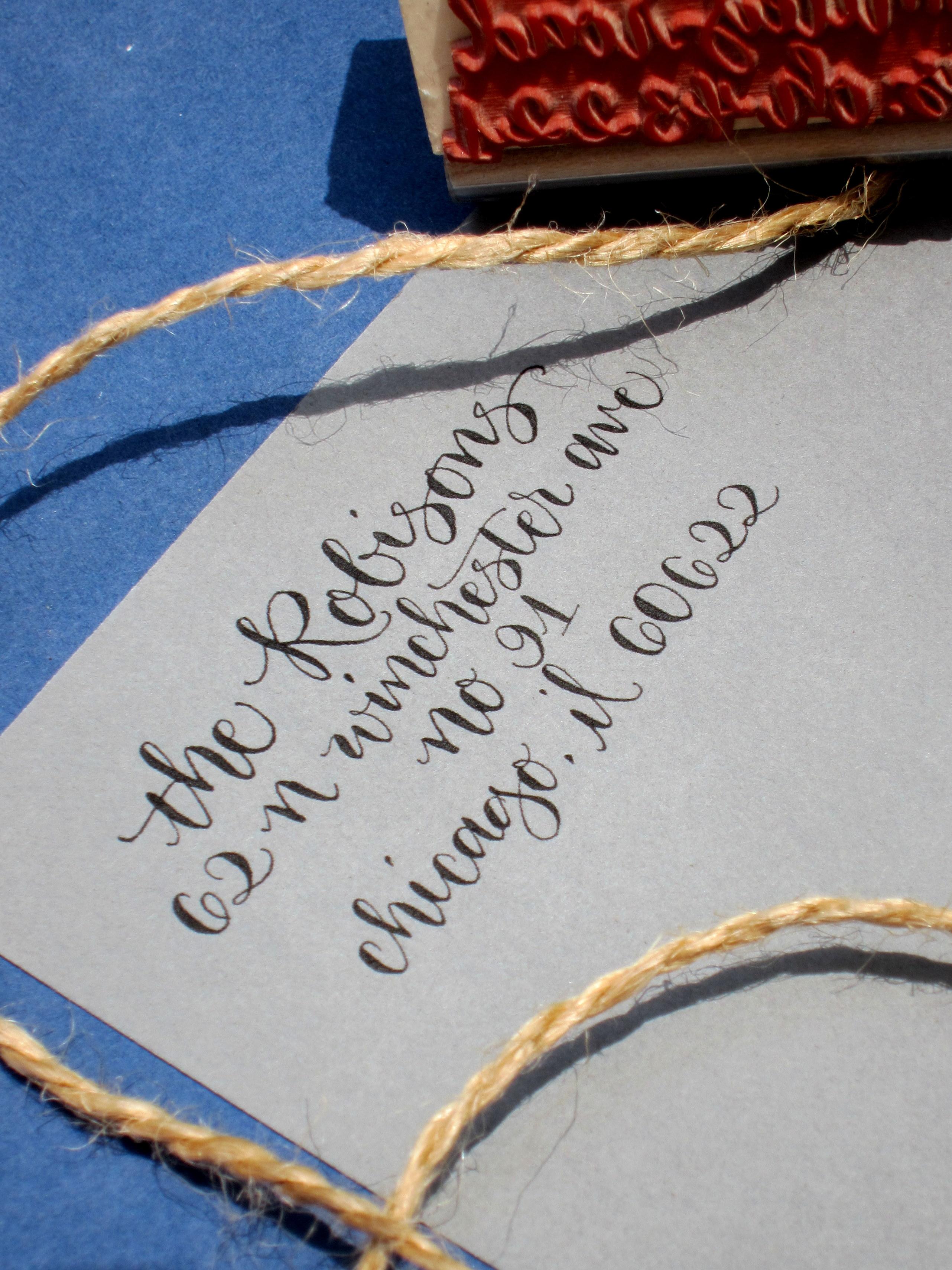Custom Calligraphy Address Stamp All Handwritten Elle
