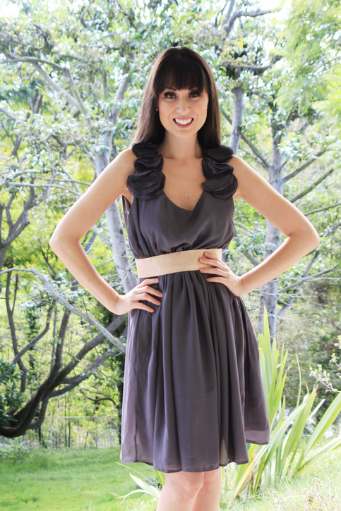 Charcoal chiffon petals and country chic bridesmaid dress for Country chic wedding dress