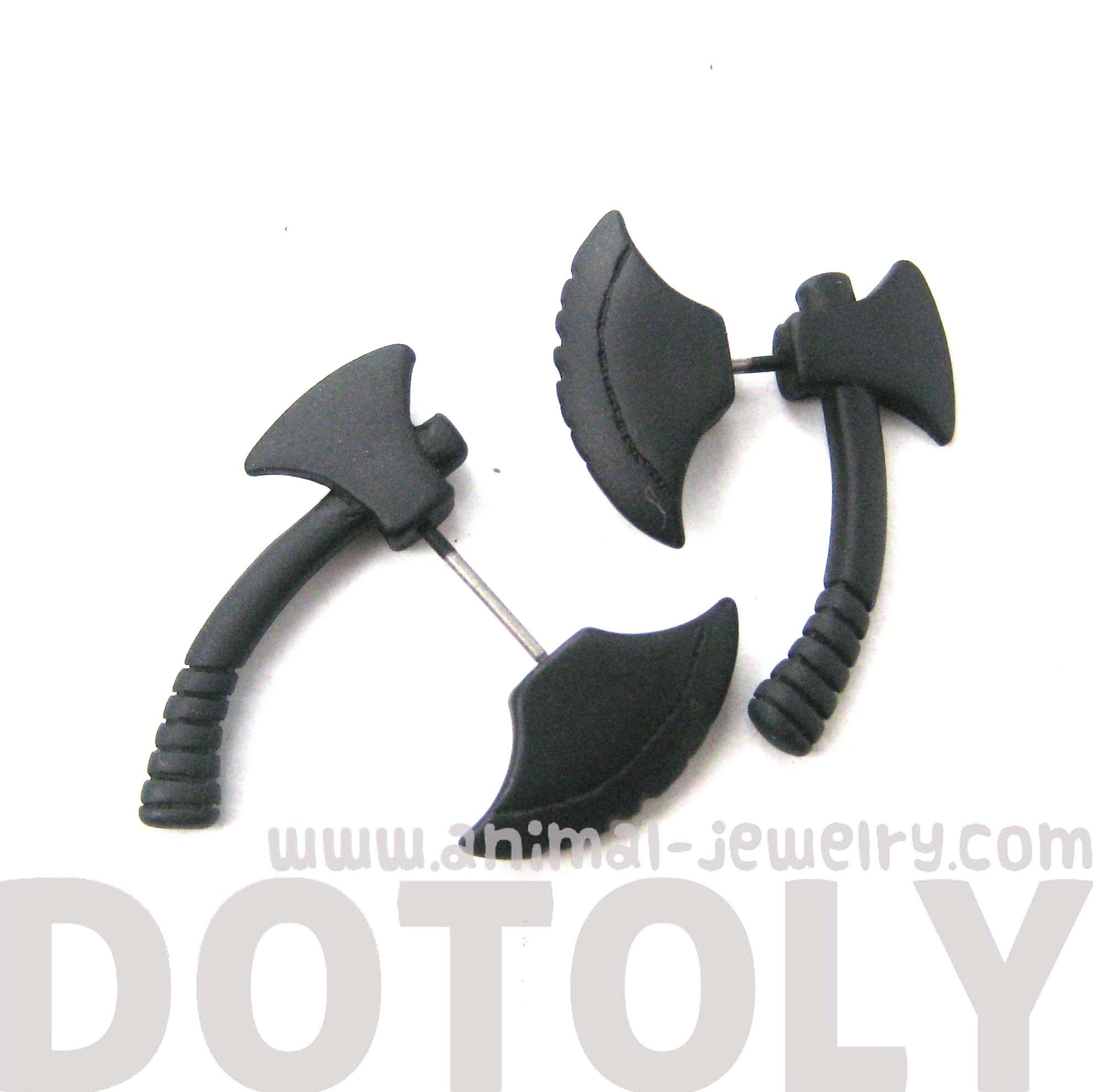 3d Axe Shaped Unisex Fake Gauge Plug Stud Earrings In Black  Thumbnail  3