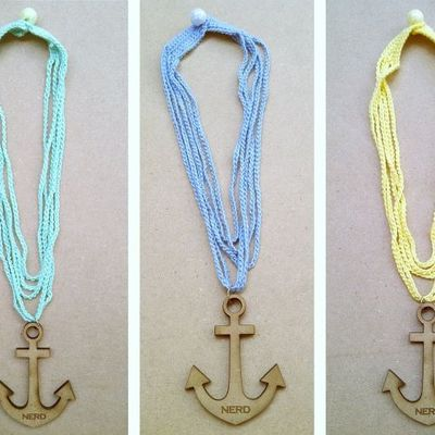 Crochet anchor necklace