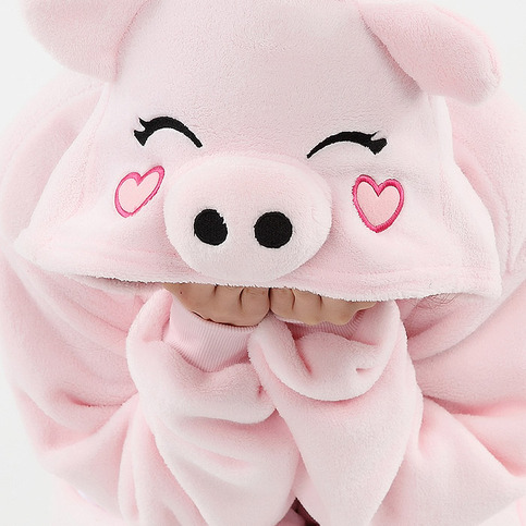 Christmas gift!pink pig coral fleece coverall love heart ...