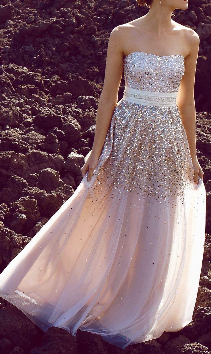 Sweetheart girl sequin modest strapless long prom dress for Strapless sparkly wedding dresses