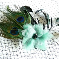 Peacock Bridal Fascinator with Green Organza Flower  - Thumbnail 1