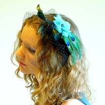Peacock Bridal Fascinator with Green Organza Flower  - Thumbnail 3