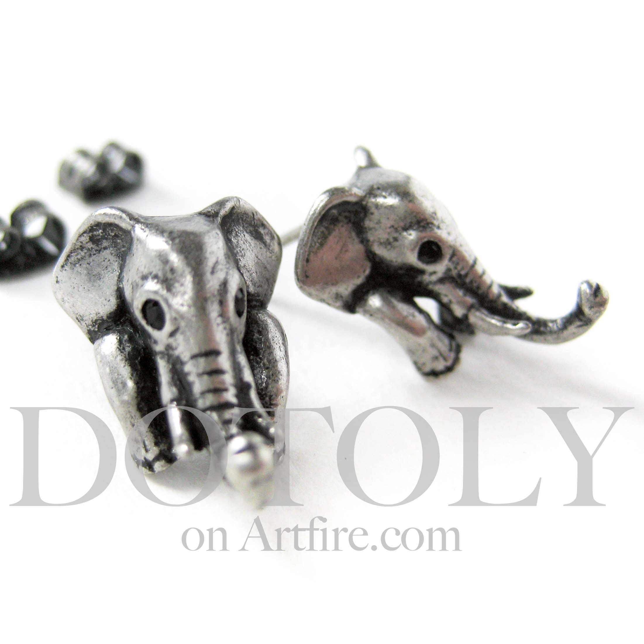 Elephant Earrings on Product   Miniature Elephant Earrings In Silver By Dotoly    Storenvy