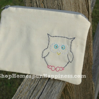 Just stitched owl zippy