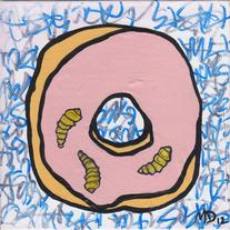 Strawberry Frosted Donut - original art painting