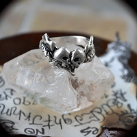 Soul Mates Memento Mori Ring Solid Sterling Silver Ring Snake Skulls and Heart with wings - Thumbnail 2