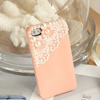 iphone 4G Design #355, New Bling Crystal Lace W/ Pearls Pink iPhone 4/4S Case