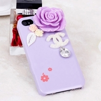 New Bling Crystal Purple Rose Logo Tear Drop Rhinestone Purple iPhone 4/4S Case