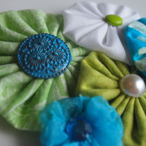 Blue and green fabric yoyo cluster