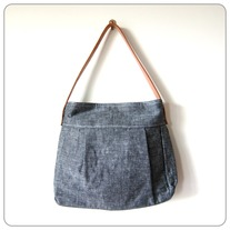 50s Inspired Hobo Bag without FLAP - Black Japanese Linen