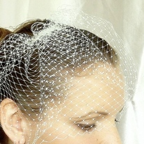 Ivory Birdcage Veil made from 8 inch French Netting - Thumbnail 3