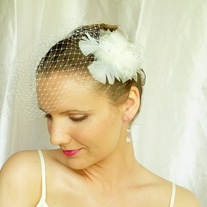 Ivory Birdcage Veil made from 8 inch French Netting - Thumbnail 4