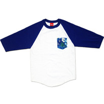 Tropical Pocket Baseball Tshirt WHITE/ROYAL