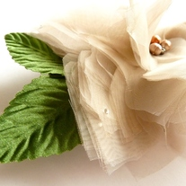 Lovely Flower Taupe Organza Headpiece  - Thumbnail 4