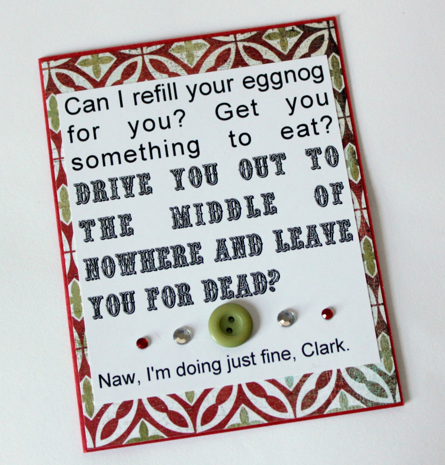Christmas Vacation Card - Just Fine Clark · Say Anything Creations ...