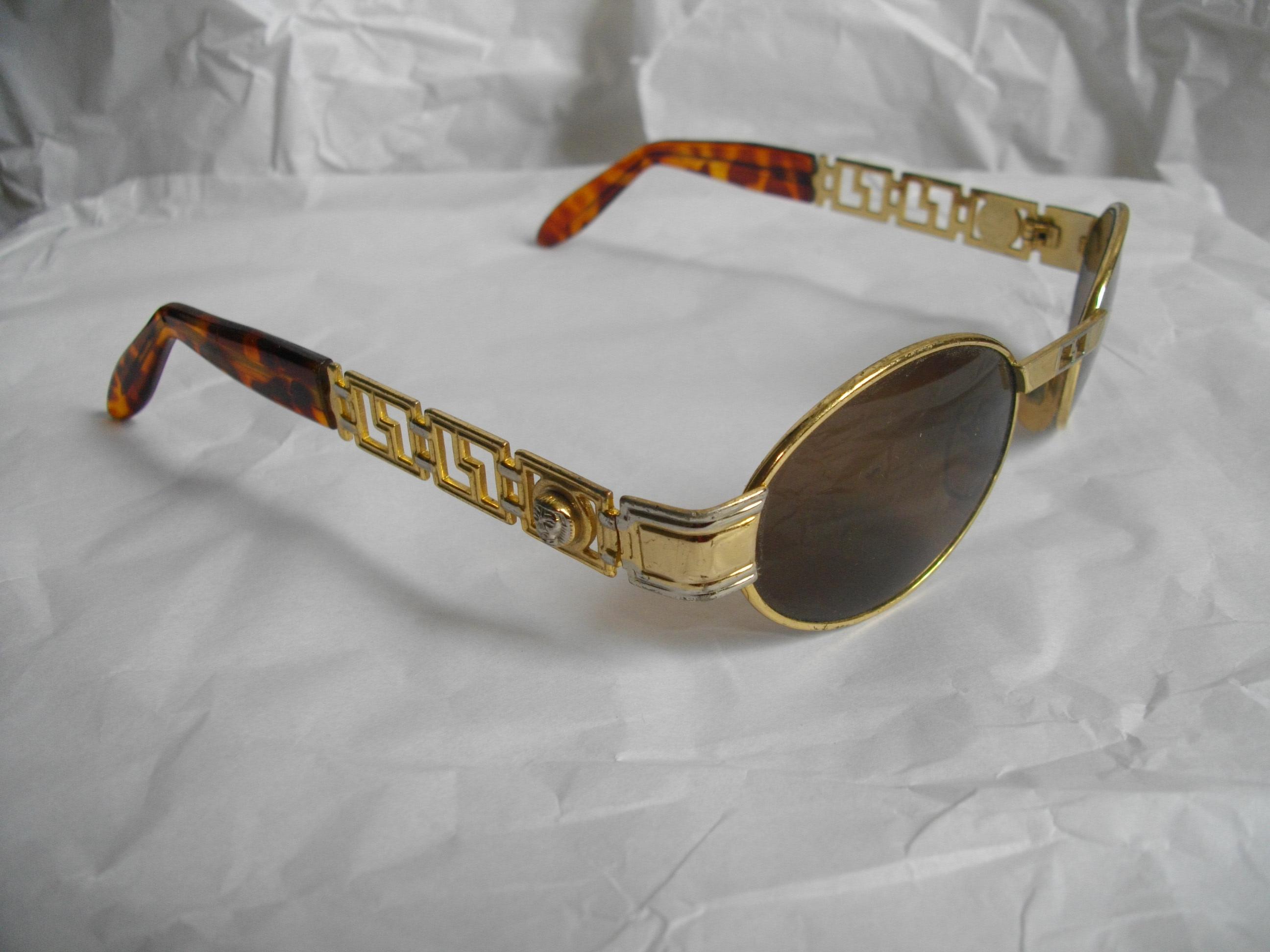 Frame glasses versace - Vintage Trill Gold Silver Tortoise Shell Sunglasses